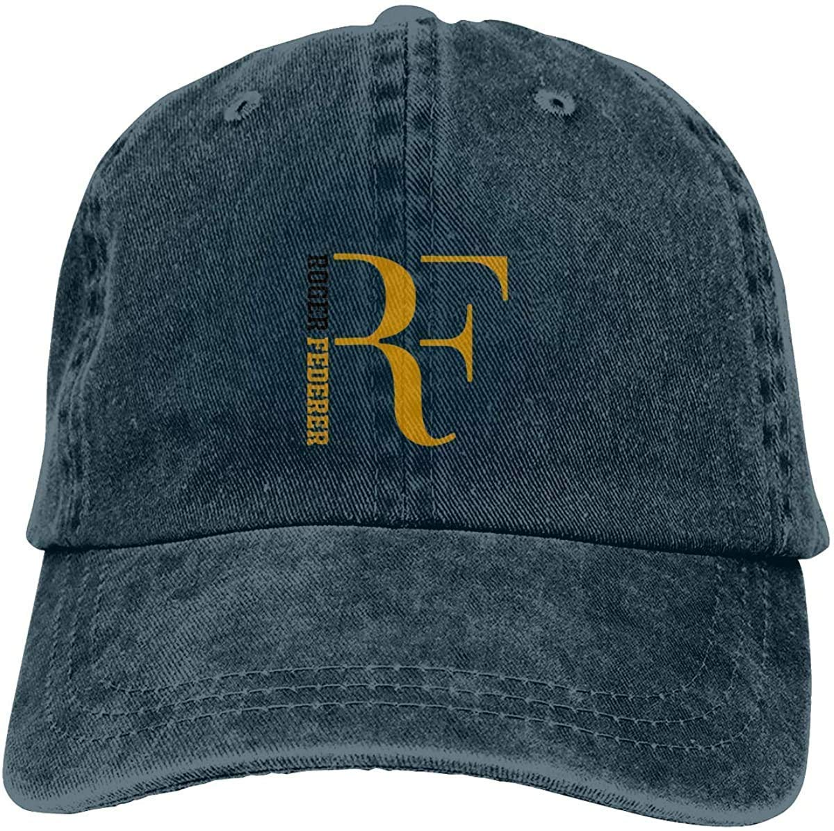 IIFENGLE Baseball Cap Sports Cowboy Hat Adult Retro Baseball Cap Adjustable Roger Federer RF Logo s Black