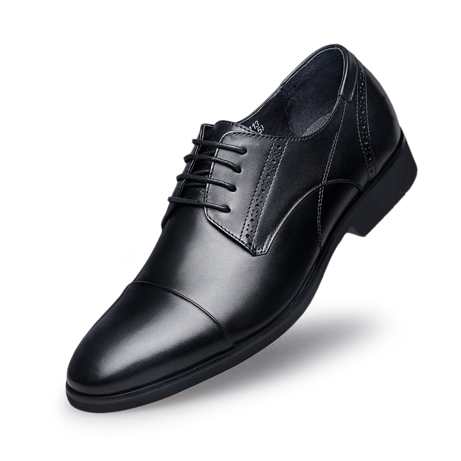 ZRO Men's Modern Brogue Lace Up Cap-Toe Dress Oxfords Leather Shoes Black US 7