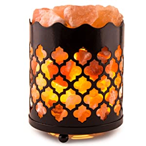 CRYSTAL DECOR Natural Himalayan Salt Lamp with Salt Chunks in Cylinder Design Metal Basket and Dimmable Cord - Moroccan Design