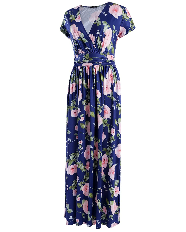 ef06ecf8 OUGES Women's Short Sleeve V Neck Floral Print Wrap Maxi Long Dress with  Pocket: Amazon.co.uk: Clothing