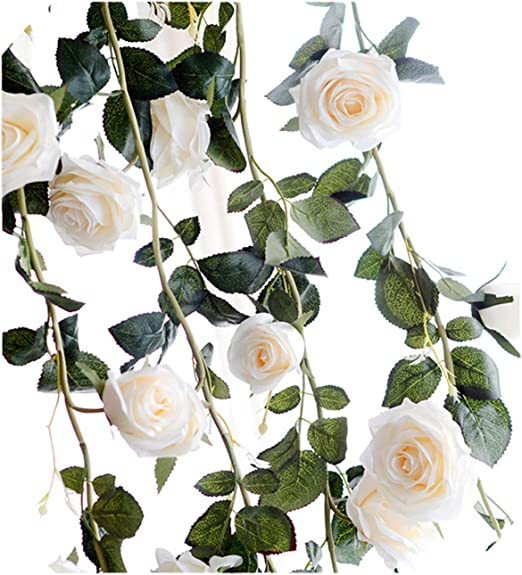Artificial Ivory Rose Garland String of Realistic Silk Flowers Wedding