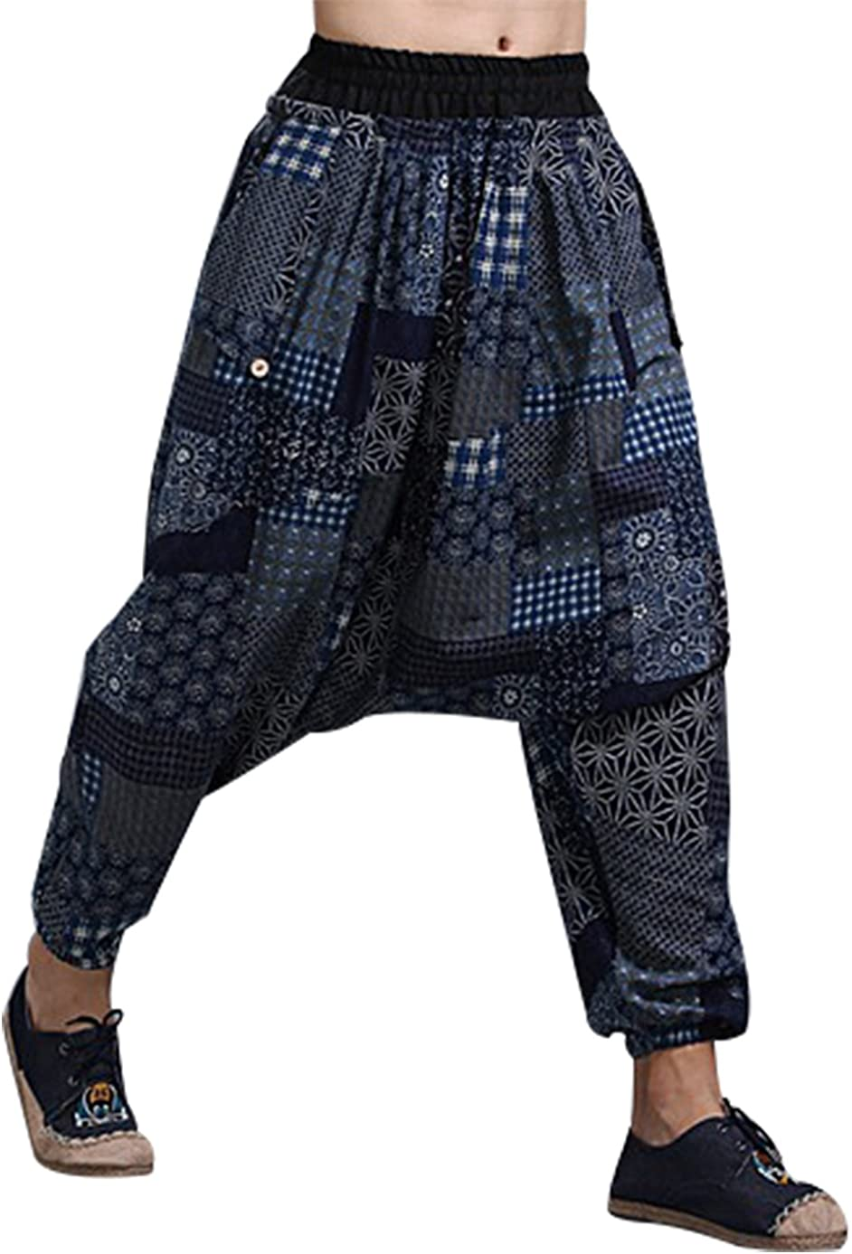MAFANBUYI - Pantalones Bombachos Cagados Hombre Mujer Unisex para Yoga Cómodo Pantalón Cagados Ancho Harem Pants con Entrepierna Talla Única Casual