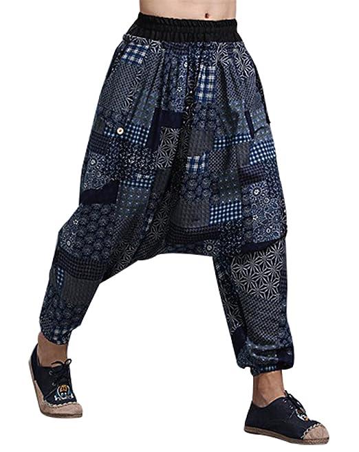 43bf9a22 MAFANBUYI Pantalones Bombachos Cagados Hombre Mujer Unisex para Yoga Cómodo  Pantalón Cagados Ancho Harem Pants con Entrepierna Talla Única Casual
