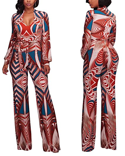 Amazoncom Gamery Women Casual African Jumpsuits With Long Sleeve