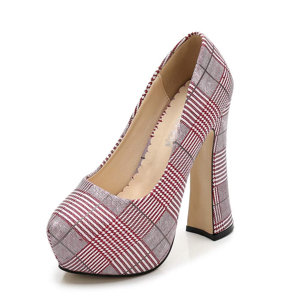 A FLYRCX La Mode Plaid Bouche Peu Profonde Ronde Chaussures Simples élégantes et Confortables épais avec des Talons Hauts de tempérament 43 EU