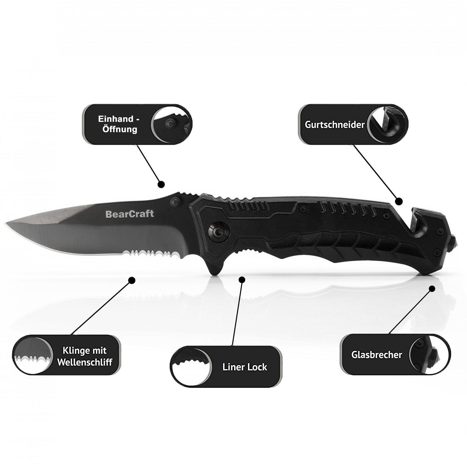 Bearcraft Klappmesser Schwarz Scharfes Outdoor Survival