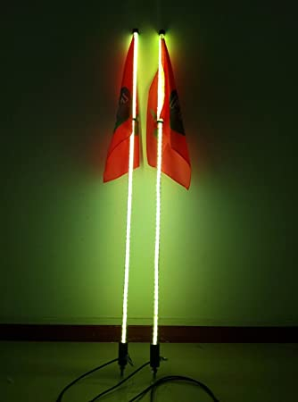 Green color 2pcs,4 feet Led light bulb whip with American flag Quick Release