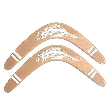 HAAPPYBOX Set of 2 Pcs Returning Wooden Boomerang 14 Outdoor Sports
