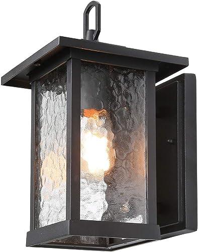 ISURAUL Outdoor Lighting Wall Mount Porch Light Fxitures with Water Ripple Glass Shades for Patio, Front Door, Yard, Garage, Hallway, 12 H, Black