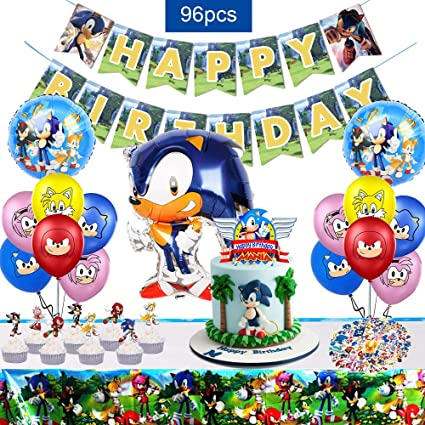 Amazon Com Wooacme 96pcs Sonic Party Supplies Include Banner Cake Topper Cupcake Topper Balloons Stickers Table Cover For Sonic The Hedgehog Birthday Party Decorations Video Game Supplies Toys Games