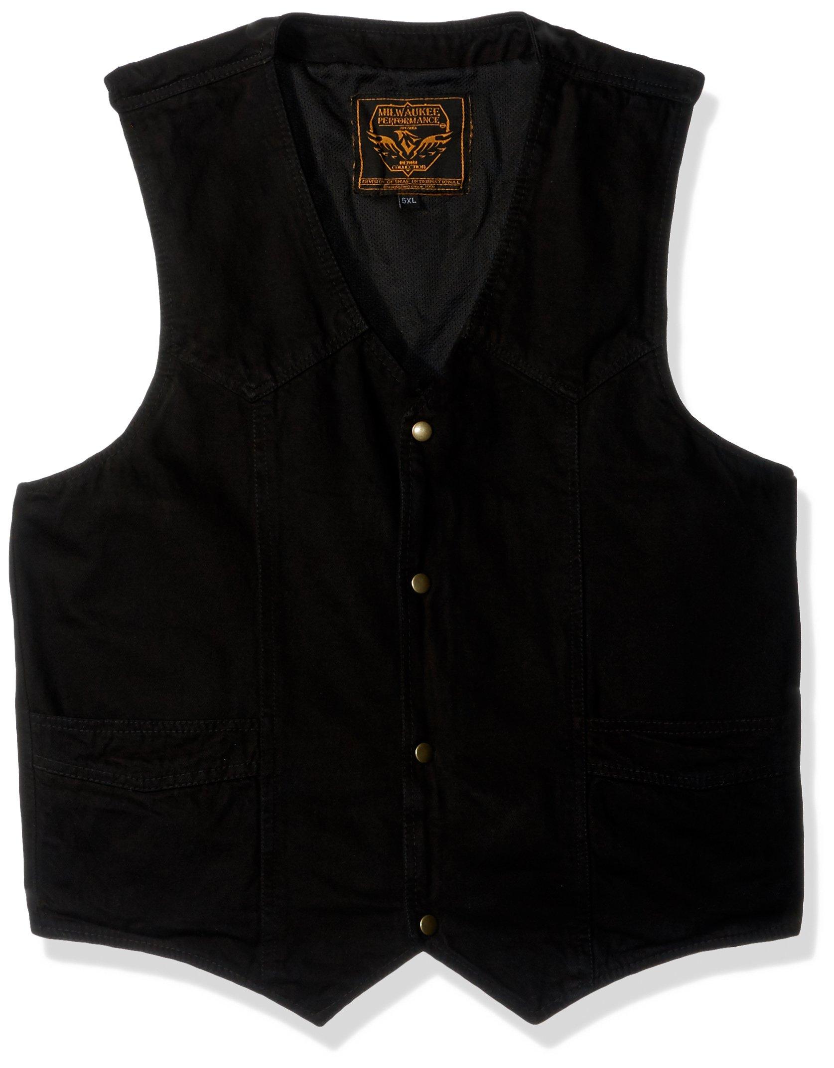 MILWAUKEE PERFORMANCE- Men's Plain Side Basic Denim Vest (Black, 5X-Large)