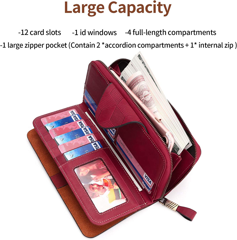 Yafeige Large Luxury Womens RFID Blocking Tri-fold Leather Wallet Zipper Ladies Clutch Purse
