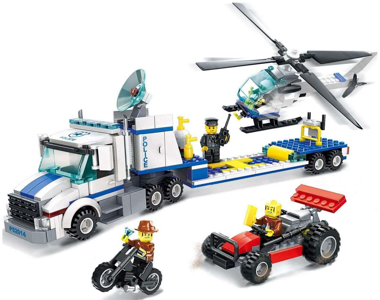 police building brick truck transporter for police search and rescue helicopter toy 393pcs play set - building block Compatible To Other Brands - Great Gift for children