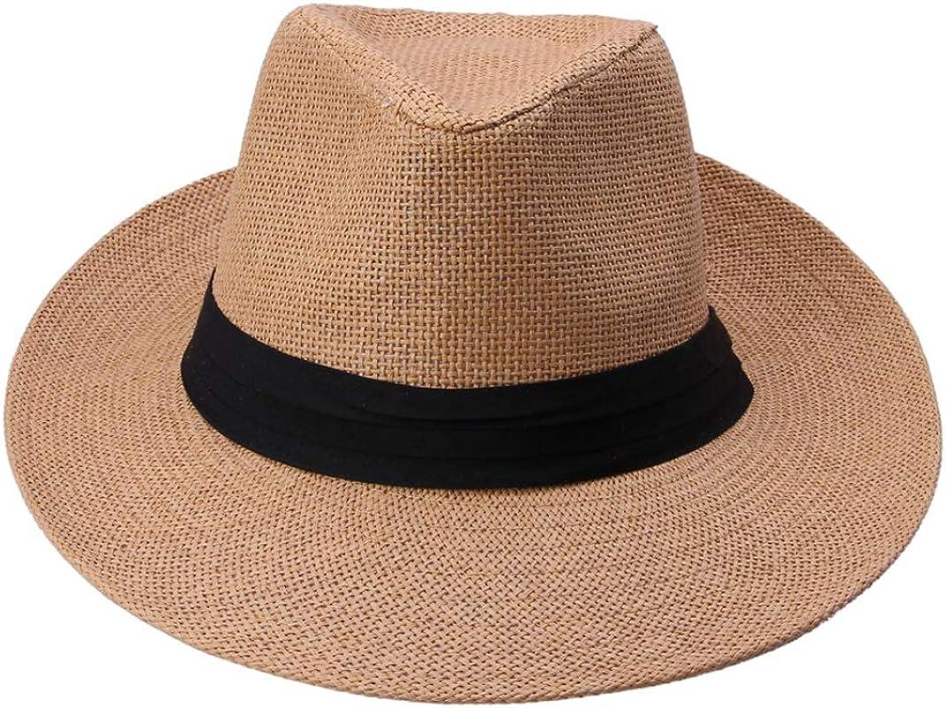 Unisex Beach Sun Hat Fashion Large Brim Casual Jazz Sun Hat Panama Hat Paper Straw Cap