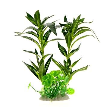 Saim - Plantas artificiales de plástico para acuario, color verde, rohdea, japónica,