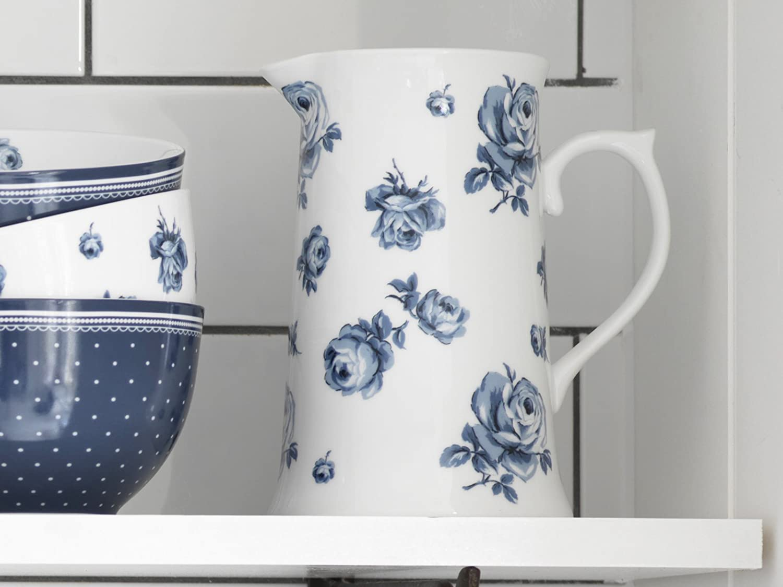 Katie Alice Vintage Floral Jarra Azul Porcelana