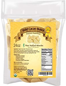 Cocoa Butter Raw Organic | Cacao Butter Pure, Unrefined, Edible, Food Grade 24 oz | Fair Trade & Keto | Use in Coffee, Fat Bombs, Homemade Chocolate, Cooking, Soap Making &Skin Care