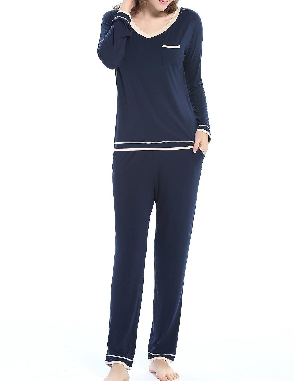 Aoymay Women Pajama Set Long Sleeve Sleepwear Soft Loungewear Top & Pants PJ