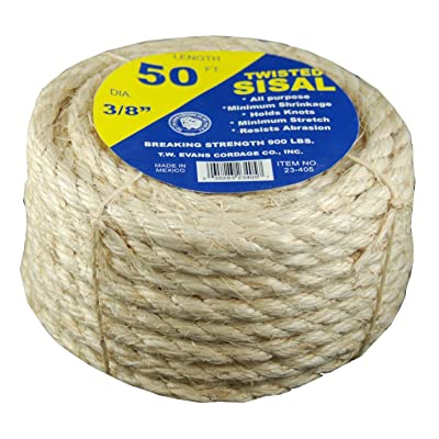 Tw Evans Cordage 23-205 Twisted Multi-Purpose Rope, 1/4 in Dia x 50' L, 900 Lb - Sisal Rope For Cats - .com