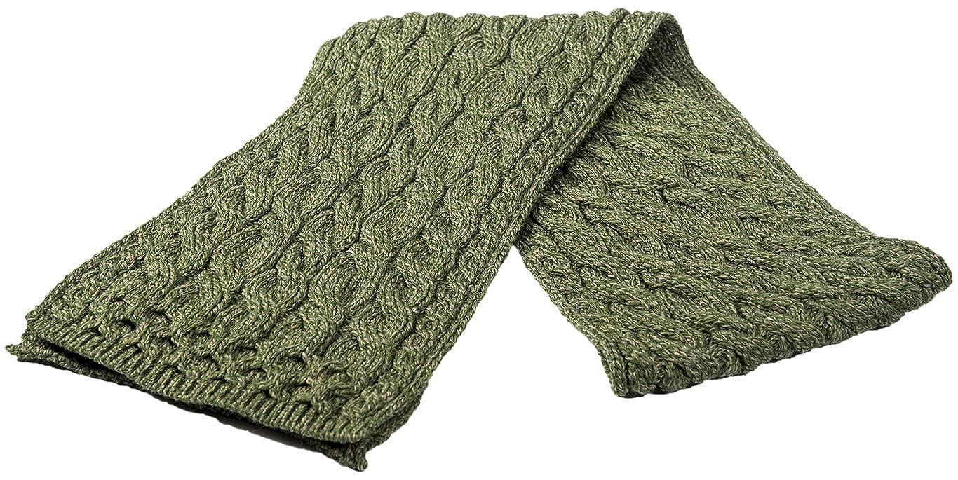Aran Super Soft Merino Cable Scarf Army Green Colour At Amazon