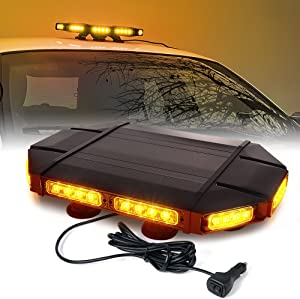 "Xprite Black Hawk Mini 18"" Professional Amber LED Stealth Low Profile Law Enforcement and Security Magnetic Roof Top Strobe Light Bar"