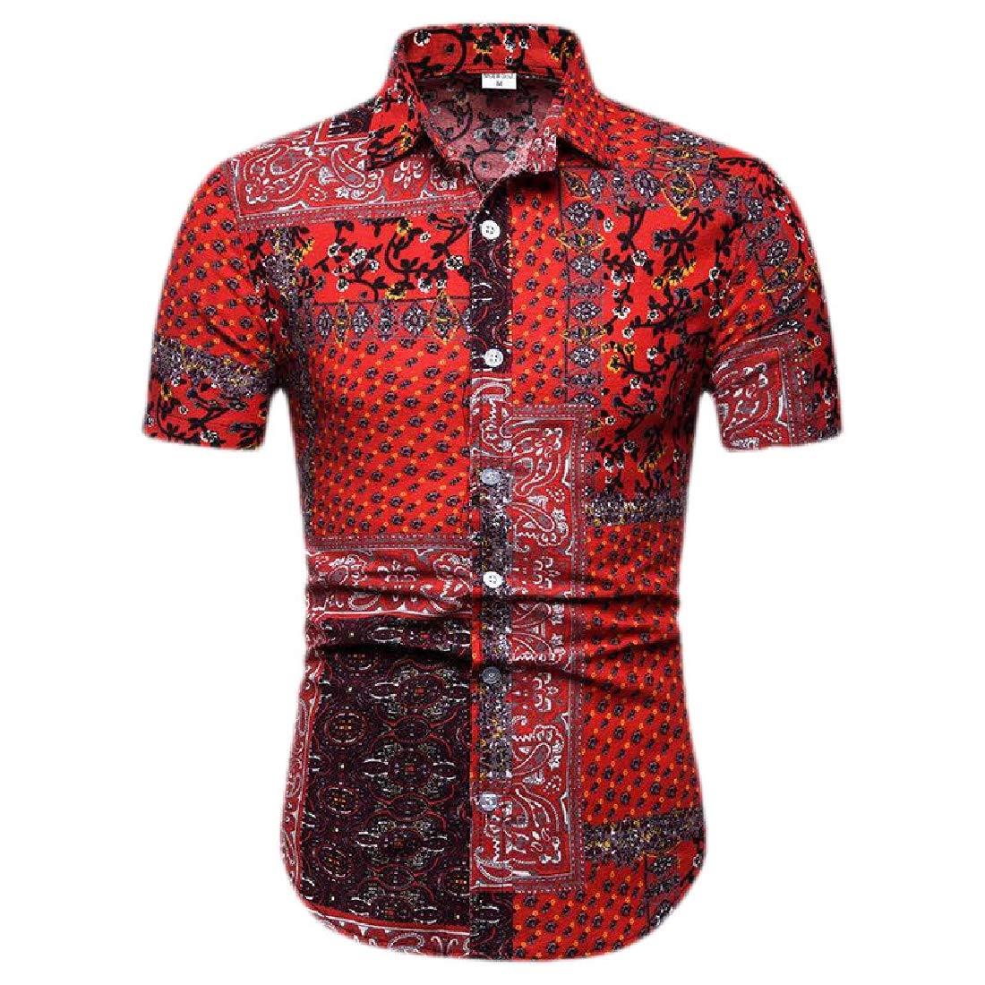 Fubotevic Men Casual Short Sleeve Beach Print Ethnic Style Shirt Blouse Top