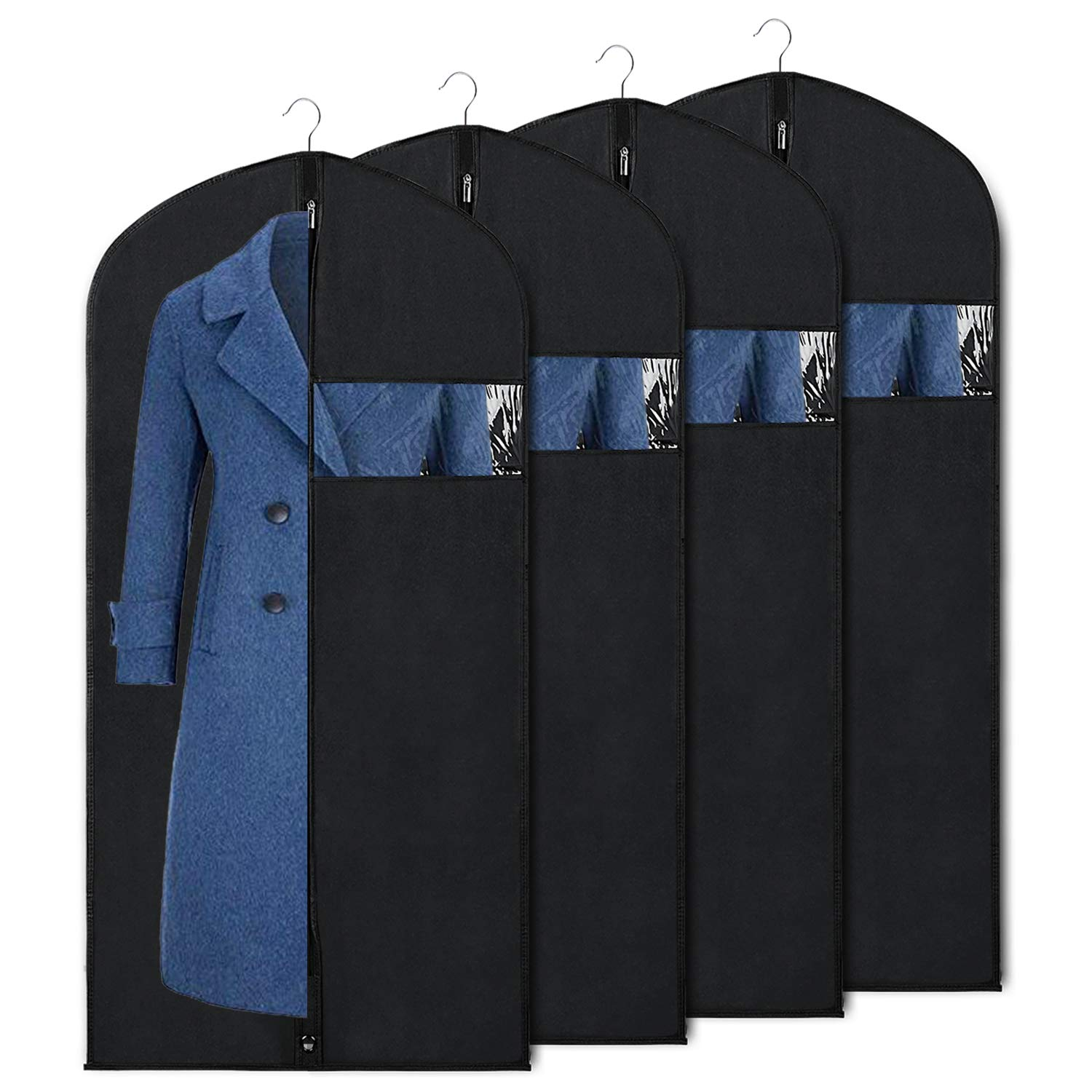 Garment Bag Suit Bags for Storage and Travel 60-inch Dust Cover Breatbable Garment Bags for Long Gowns Suits, Dresses Coats, Set of 4 Syeeiex Technology