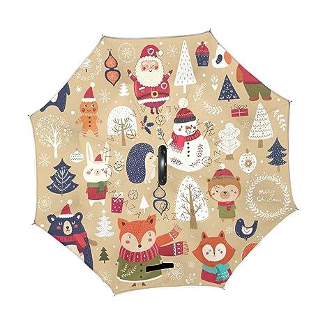 bd079dbf36e17 Amazon.com : Wamika Christmas Santa Claus Reverse Umbrella Double ...