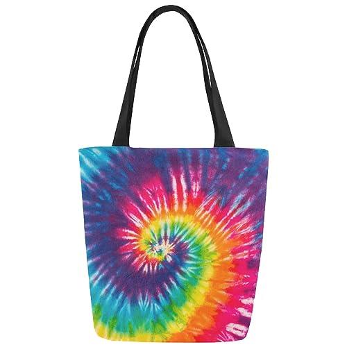 ce5d01d7a Amazon.com: InterestPrint Rainbow Tie Dye Canvas Tote Bag Shoulder Handbag  for Women Girls: Shoes