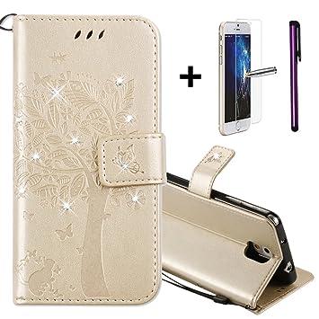 Carcasa para Samsung Galaxy Note 3 (+ 1 protector de pantalla + 1 lápiz táctil) de Newstars, cartera de cuero PU prémium, diseño lujoso 3D, hecha a ...