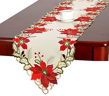 Christmas Table Runner.Grelucgo Christmas Holiday Embroidered Poinsettia Table Runner 16x54 Inch