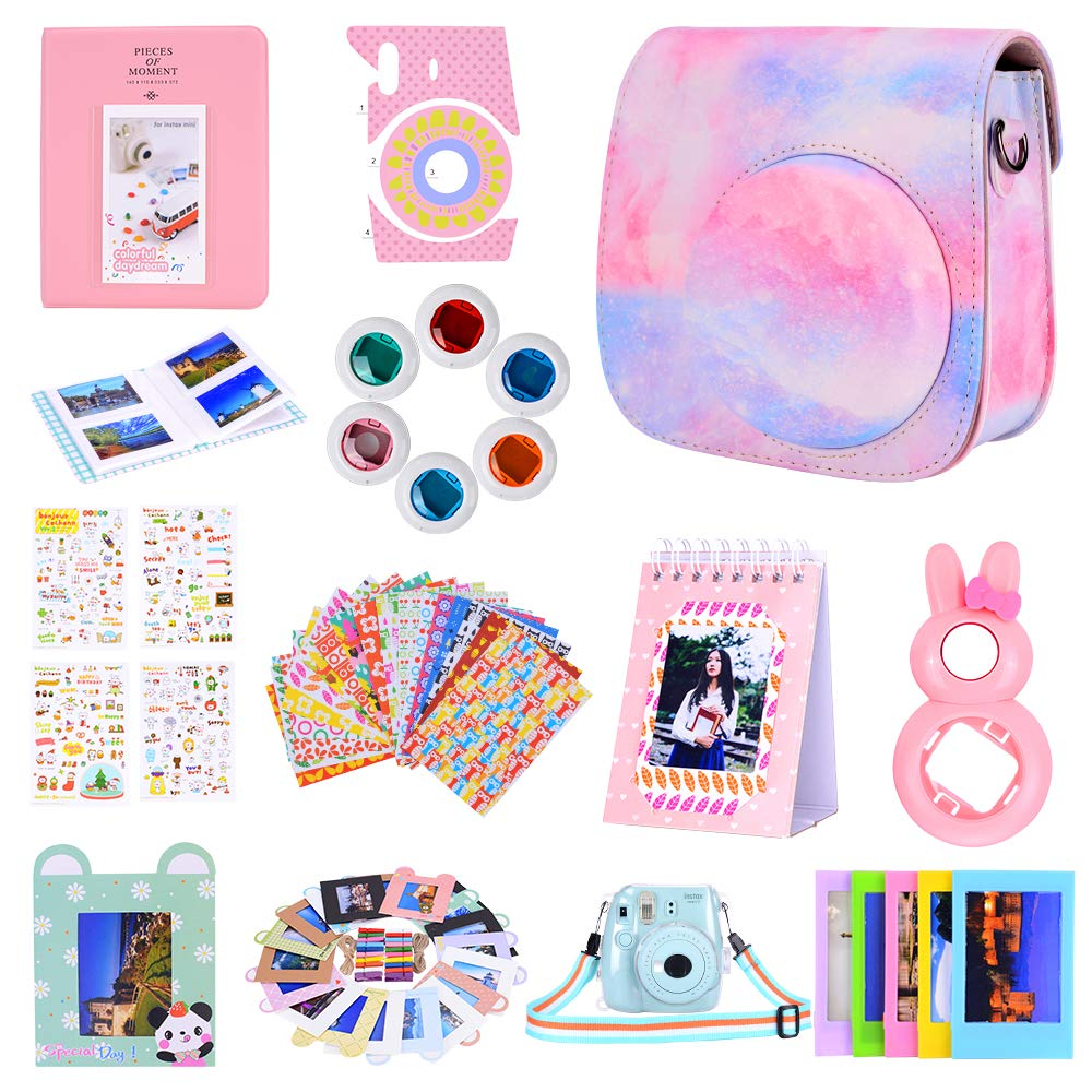 Amarcor Instax Mini 9 Camera Accessories Set for Fujifilm Instax Mini 9// Mini 8// Mini 8 12 in 1 Cloud Camera,Includes Mini 9 Case//Albums//Six Color Filters//Selfie Lens//Camera Sticker