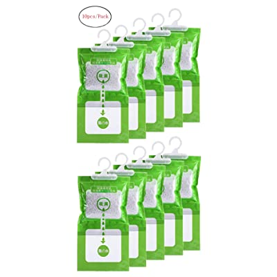 .com - Jiaan Hygroscopic Anti-Mold Deodorizing Moistureproof Desiccant Hanging Bag Use for Kitchen Bathroom Wardrobe, Dehumidification Process Could be Witness (10pcs/Pack) - [5Bkhe0110507]