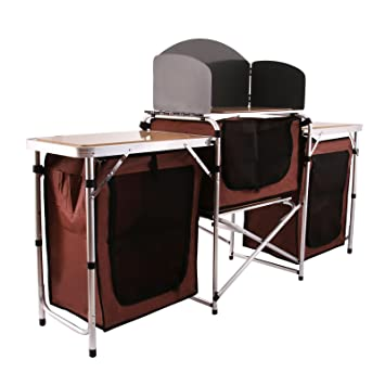 Happybuy Portable Camping Kitchen Table Multifunctional Camping