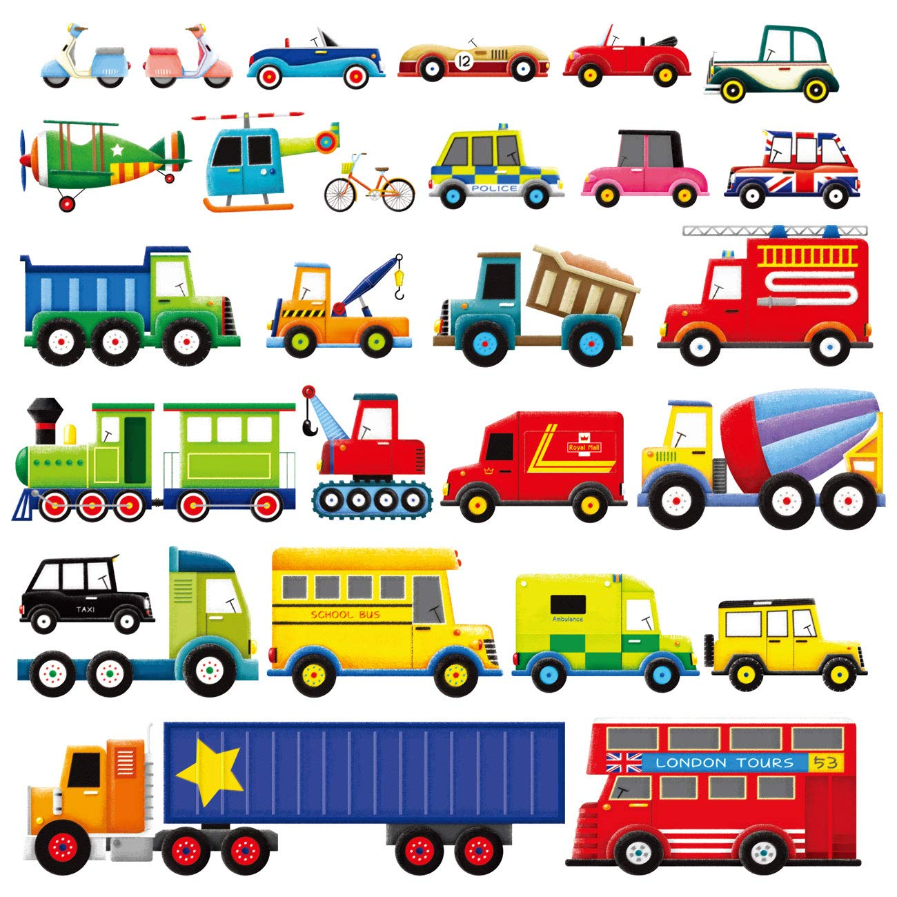 Decowall DW-1205 27 Transports Kids Wall Stickers Wall Decals Peel and Stick Removable Wall Stickers for Kids Nursery Bedroom Living Room