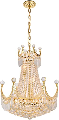 Elegant Lighting 8949D20G RC Royal Cut Clear Crystal Corona 9-Light, Two-Tier Crystal Chandelier, 20 x 28 , Finished in Gold with Clear Crystals