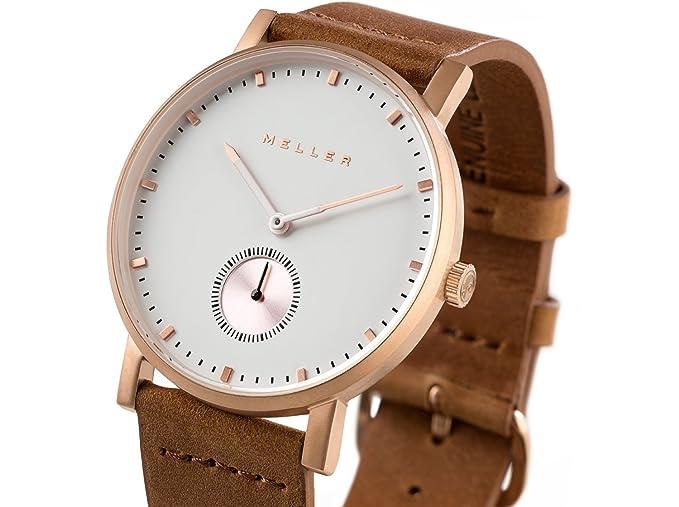 Meller Reloj Analógico para Unisex Adultos de Cuarzo con Correa en Cuero 2R-1CAMEL: Amazon.es: Relojes