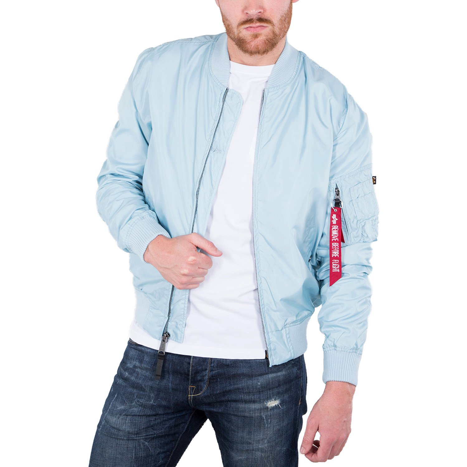 detailed look limited guantity good texture ALPHA INDUSTRIES MA-1 TT Bomber Jacket | Air Blue: Amazon.co ...