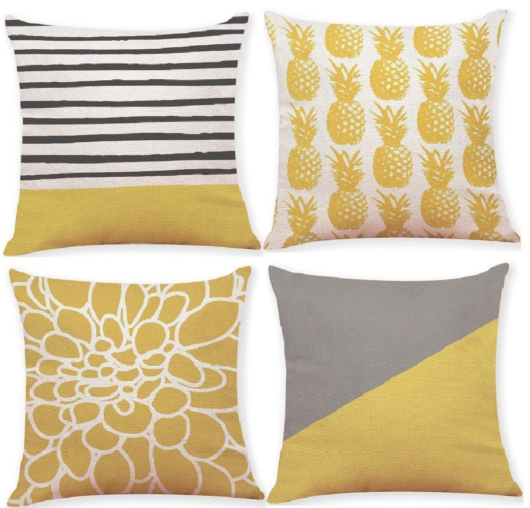 Decemter Pineapple Throw Pillow Covers Set of 4 18x18 Cotton Linen Home Decor Yellow Cushion Cover