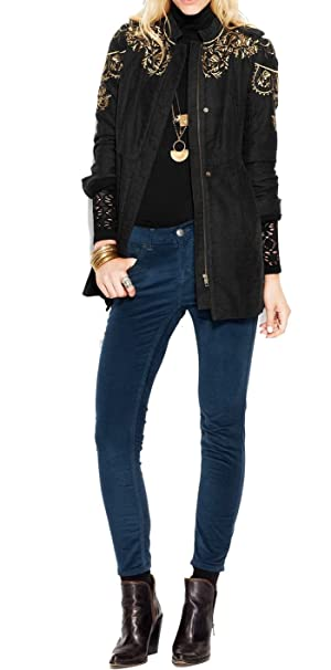 Free People Embroidered Sergeant Coat, 0, Charcoal