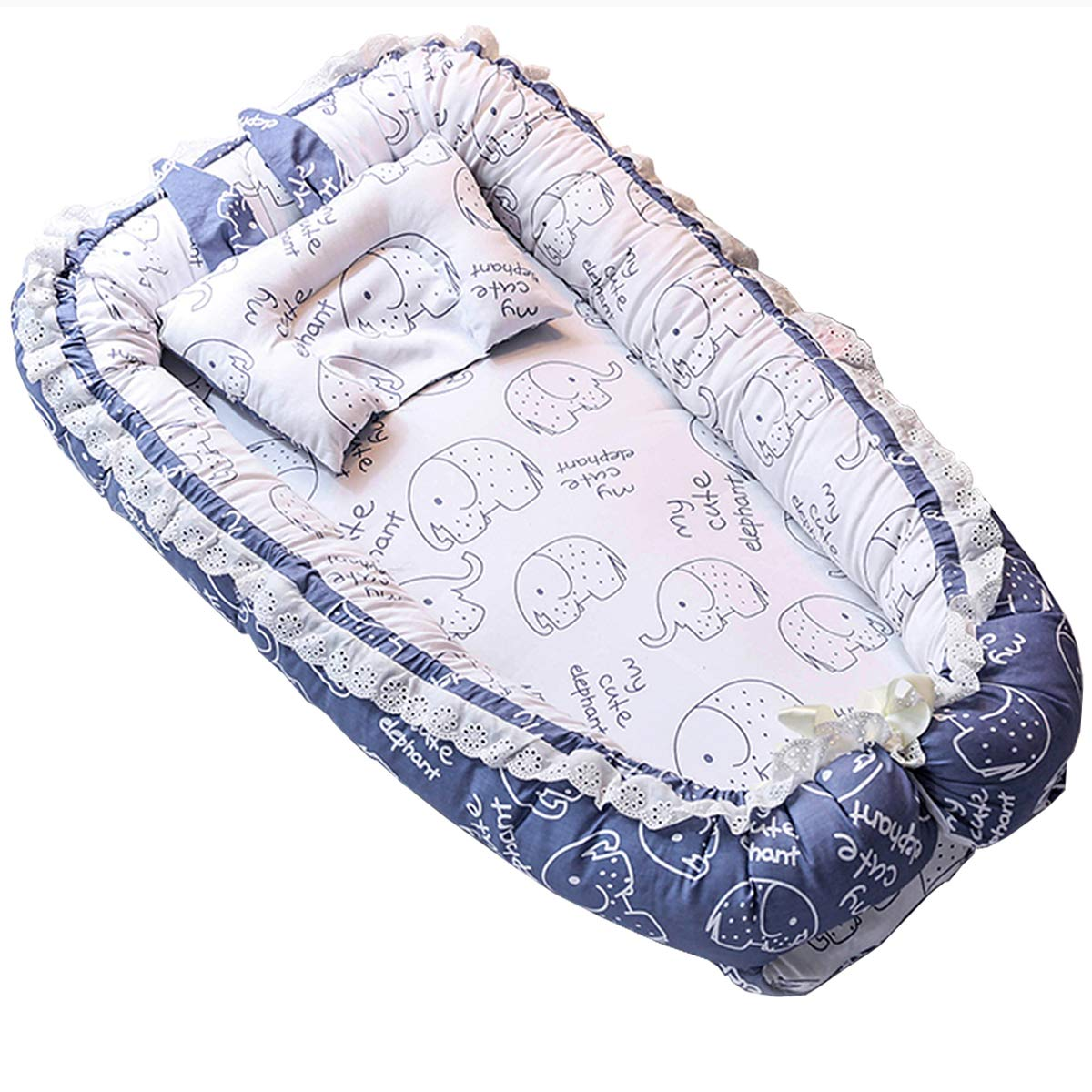 Baby Lounger Nest Bassinet for Bed, Portable Baby Co-Sleeping Cribs & Cradles for Bedroom and Travel, 100% Soft Cotton Baby Bed (Lace Elephant) by Chilly