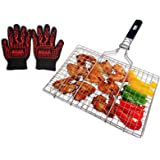 SUMPRI Barbecue Grill Basket -Portable Stainless Steel BBQ Grilling Basket With Removable Handle -Great For Veggies…
