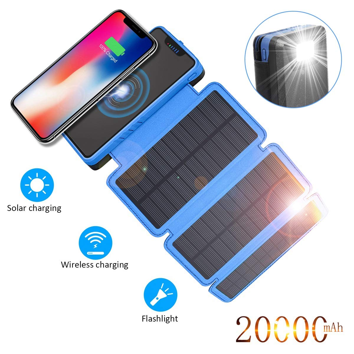 Solar Charger 20000mAh,Wireless Qi Power Bank Portable Solar Battery Charger with 3 Solar Panels Flashlight 5V 2.1A Dual Port Output Waterproof External Battery Pack for Outdoor Camping Travel by Zonhood
