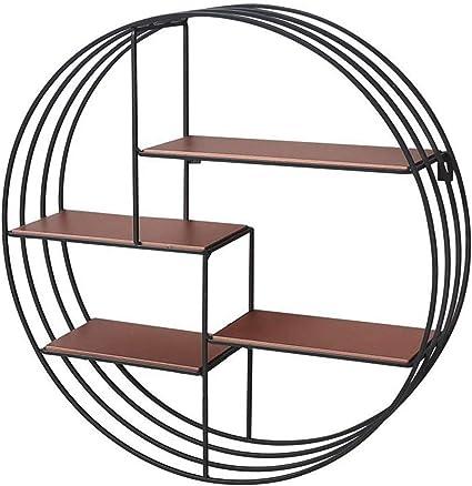 Estante de pared redondo, estantería de madera circular de ...