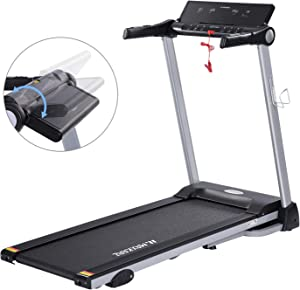 MaxKare Folding Treadmill Electric Motorized Running Machine with 15 Pre-Set Programs 2.5HP Power 8.5 MPH Max Speed White LED Display and Mobile Phone & Water Bottle Holder for Indoor Exercise