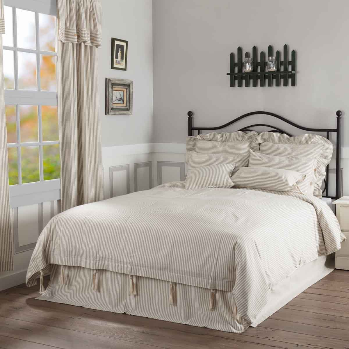 Piper Classics Farmhouse Ticking Stripe Duvet Cover, Beige Taupe & Off-White, King 92x108, Comforter Cover w/Twill Ties, Soft Comfortable Farmhouse Bedroom Decor
