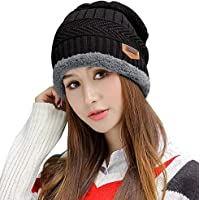 Stretchy Cuff Beanie Hat Black Skull Caps Timber Wolf Winter Warm Knit Hats