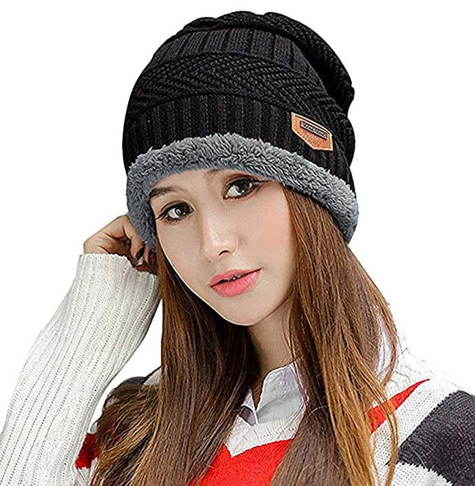 HINDAWI Winter Beanie Hat Knitted Skull Warm Snow Outdoor Slouchy Beanies  Cap for Women Men 8a380442d