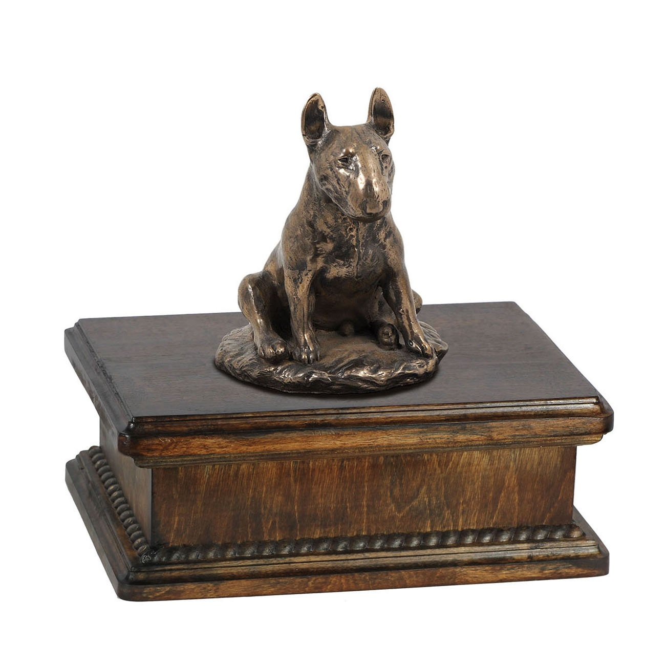 Bull Terrier (sitting), memorial, urn for dog's ashes, with dog statue, exclusive, ArtDog