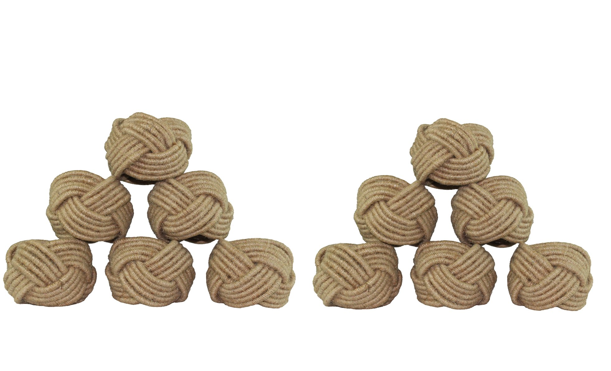 COTTON CRAFT - Jute Napkin Ring - Set of 12-2 Inch Round - Hand Made by Skilled artisans - A Beautiful complement to Your Dinner Table décor by COTTON CRAFT